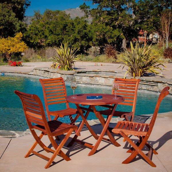 Christopher Knight Home Andalouse Deluxe Eucalyptus Wood Round 5-piece Outdoor Dining Set