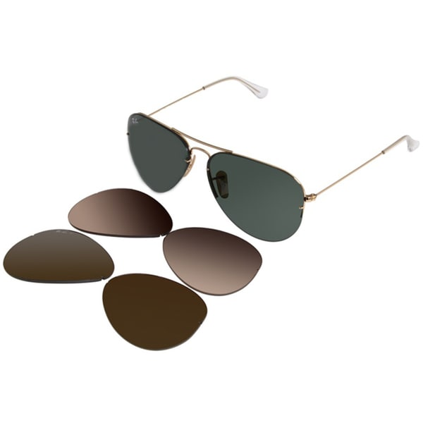Ray-Ban Unisex RB3460 59-mm Interchangeable Aviator Sunglasses