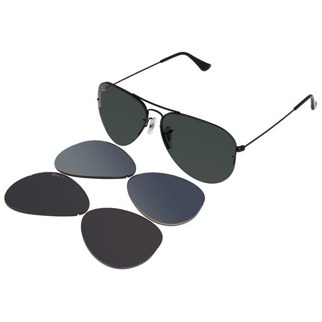 Ray-Ban Unisex RB3460 56mm Black Interchangeable Aviator Sunglasses
