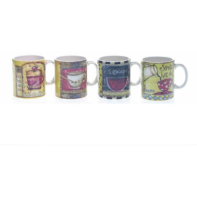 Certified International Java Time 18-ounce Mugs (Set of 4)