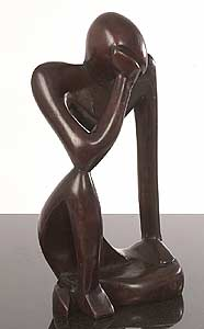 The Thinker Carved Wood 12-in. Statue(Ghana)