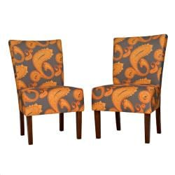 angelo:HOME Bradford Desert Sunset Brown Paisley Upholstered Armless Dining Chairs (Set of 2)