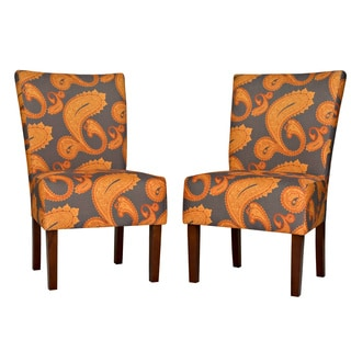 Portfolio Duet Brown Paisley Upholstered Armless Dining Chairs (Set of 2)