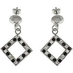 CGC Stainless Steel Cubic Zirconia Diamond-shaped Dangle Earrings