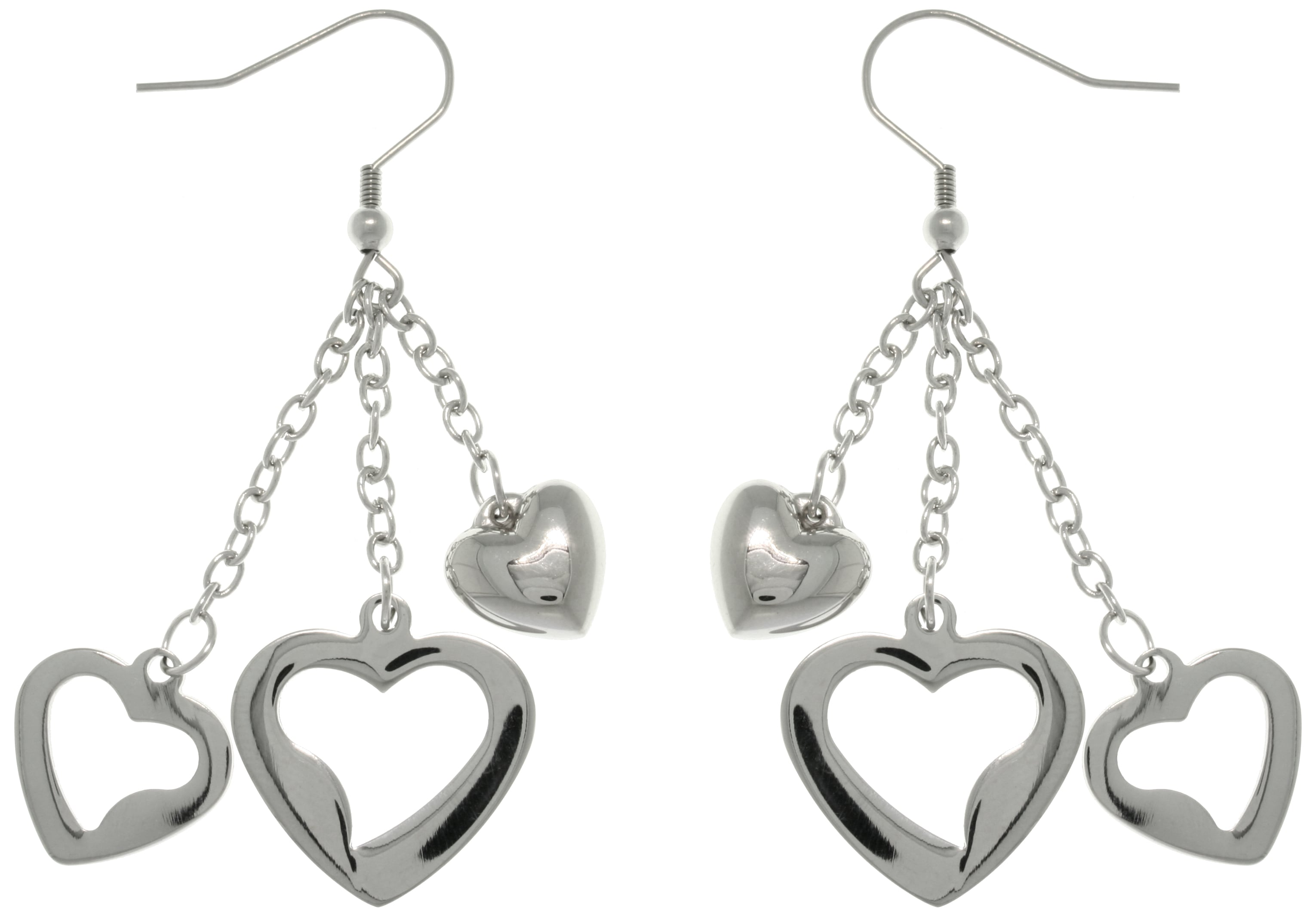 Carolina Glamour Collection Stainless Steel 'Triple Love' Heart Chain Dangle Earrings