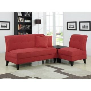 Portfolio Engle Sunset Red Linen 3-piece Sofa Set