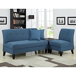 Portfolio Engle Caribbean Blue Linen 3-piece Sofa Set