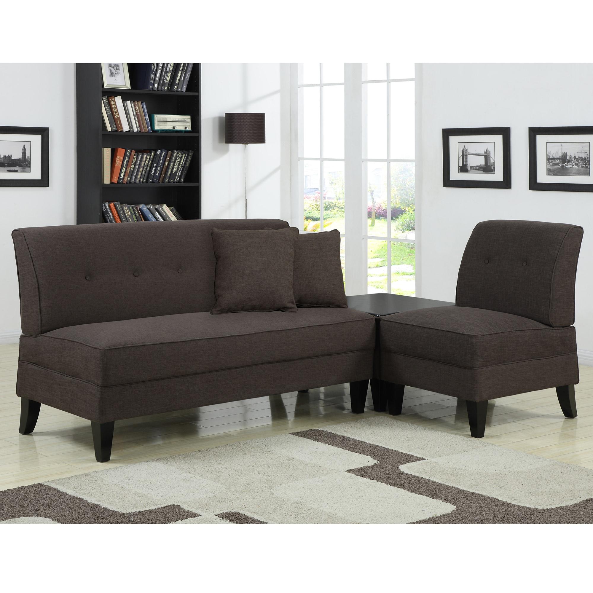 Portfolio Engle Chocolate Brown Linen 3-piece Sofa Set