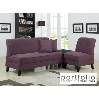 Portfolio Engle Amethyst Purple Linen 3-piece Sofa Set