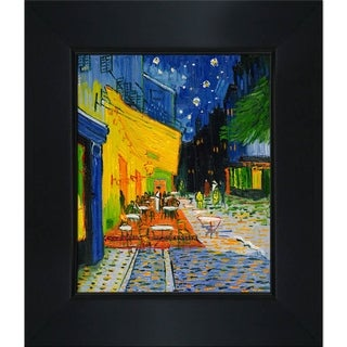 Vincent Van Gogh 'Cafe Terrace at Night' Hand-painted Framed Canvas Art