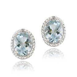 Glitzy Rocks Silver Blue Topaz and Diamond Accent Earrings (4.4ct TGW)