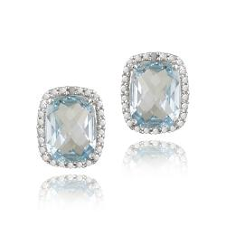Glitzy Rocks Sterling Silver Blue Topaz and Diamond Accent Earrings