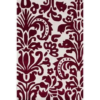 nuLOOM Handmade Pino Red Tribal Damask Rug (6' x 9')