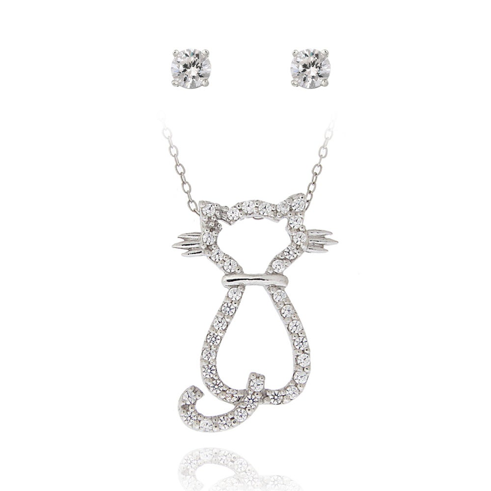 Icz Stonez Sterling Silver Cubic Zirconia Cat Jewelry Set (1 3/8ct TGW)