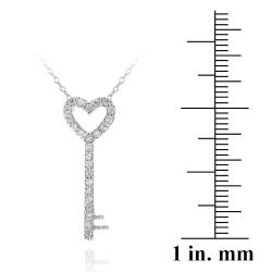 Icz Stonez Silver Cubic Zirconia Heart Key Jewelry Set (1 1/5ct TGW)