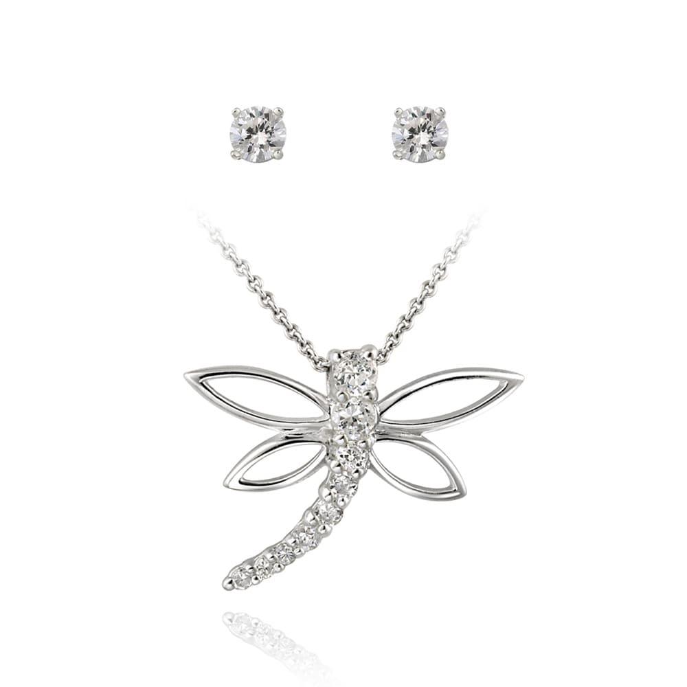 Icz Stonez Sterling Silver Cubic Zirconia Dragonfly Jewelry Set (1 1/2ct TGW)