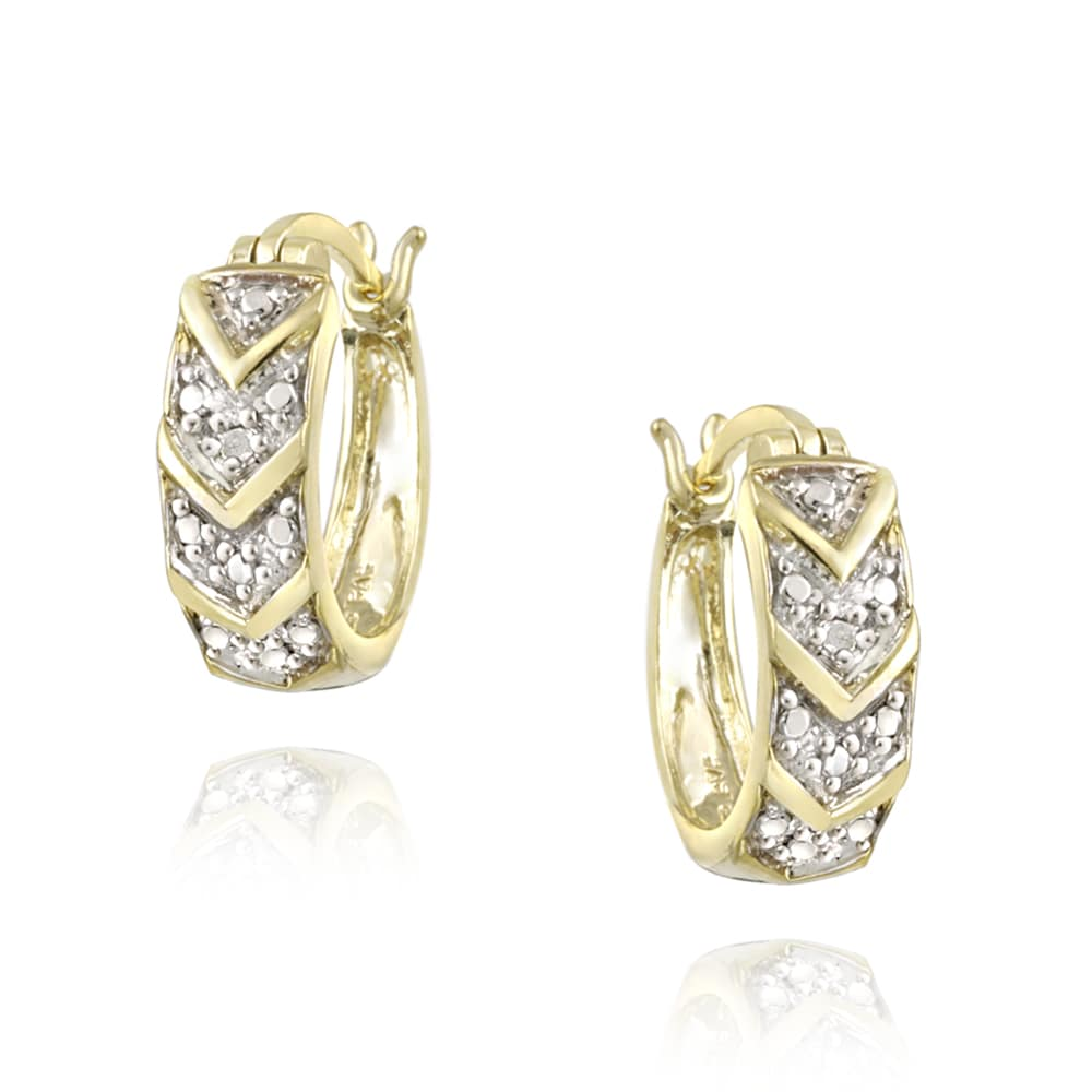 DB Designs 18k Yellow Gold over Silver Diamond Accent Chevron Hoop Earrings