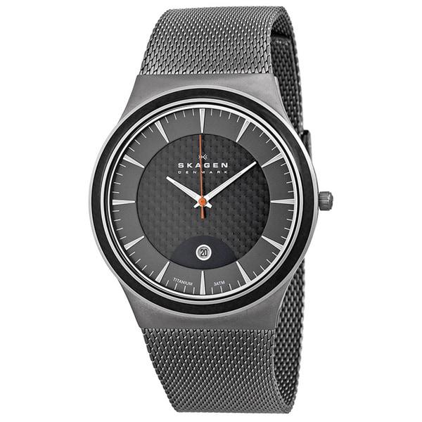 Skagen Men's Carbon Fiber Dial Stainless Steel Watch