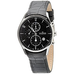 Skagen Men's Chronograph Black leather Band Watch