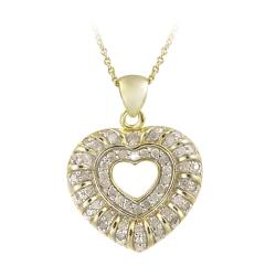 DB Designs 18k Yellow Gold over Silver 1/2ct TDW Diamond Heart Necklace (J, I3)