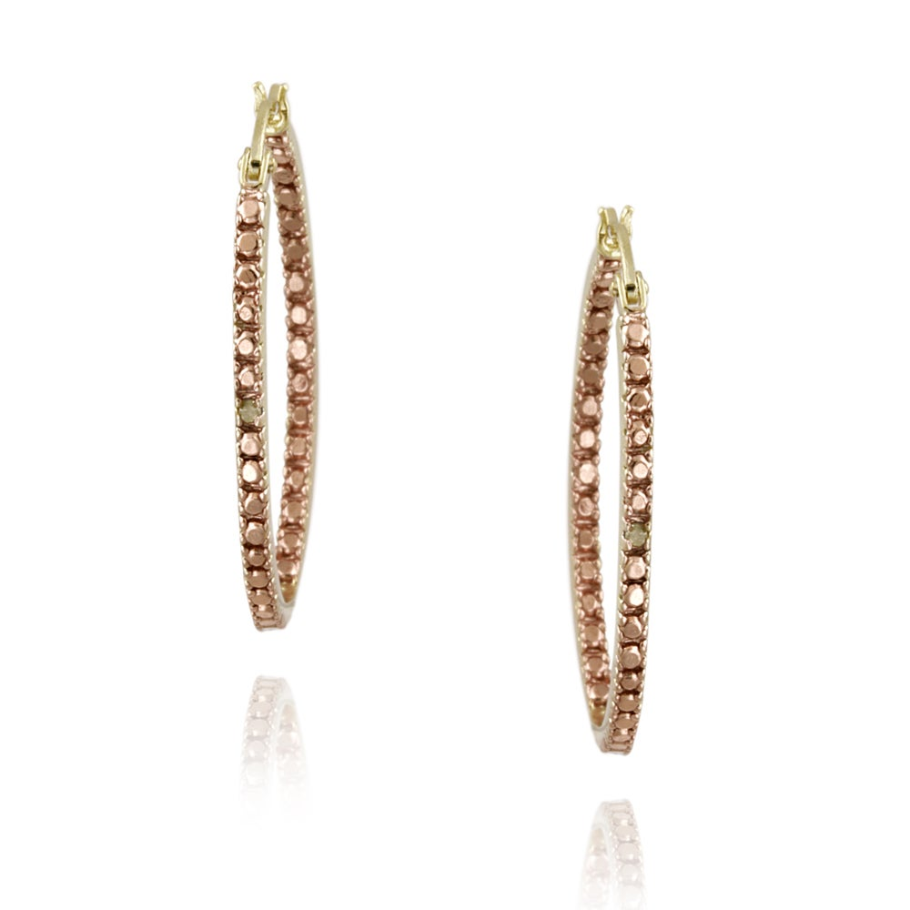 DB Designs Rose Gold Over Silver Champagne Diamond Accent Oval Hoop Earrings