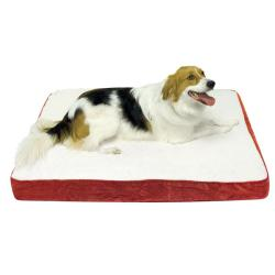 Ozzie Small Deep-red Microfiber-fabric Orthopedic-foam Dog Bed