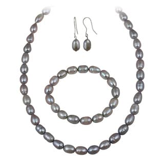 Glitzy Rocks Grey Freshwater Pearl Jewelry Set (10 x 8 Rice)
