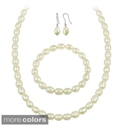 Glitzy Rocks White Freshwater Pearl Jewelry Set (10 x 8 Rice)