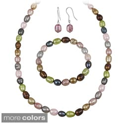 Glitzy Rocks Multi-colored Freshwater Pearl Jewelry Set (10 x 8 Rice)