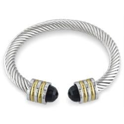 Miadora Stainless Steel Two-tone 5ct TGW Onyx Cable Cuff