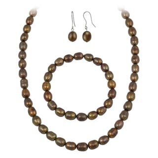 Glitzy Rocks Dark Brown Freshwater Pearl Jewelry Set (10 x 8 Rice)