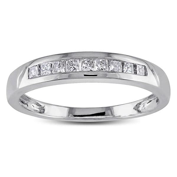 Miadora 14k White Gold 1/4ct TDW Princess Diamond Ring (H-I, I1-I2)