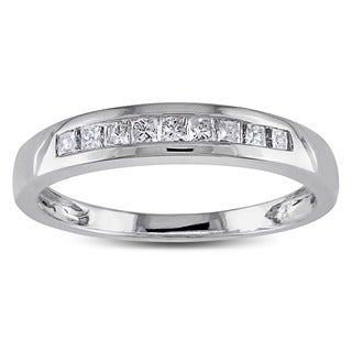 Miadora 14k White Gold 1/4ct TDW Princess Diamond Ring (H-I, I1-I2)