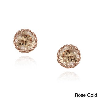 Icz Stonez Gold over Silver Champagne Cubic Zirconia Stud Earrings (2 4/5ct TGW)