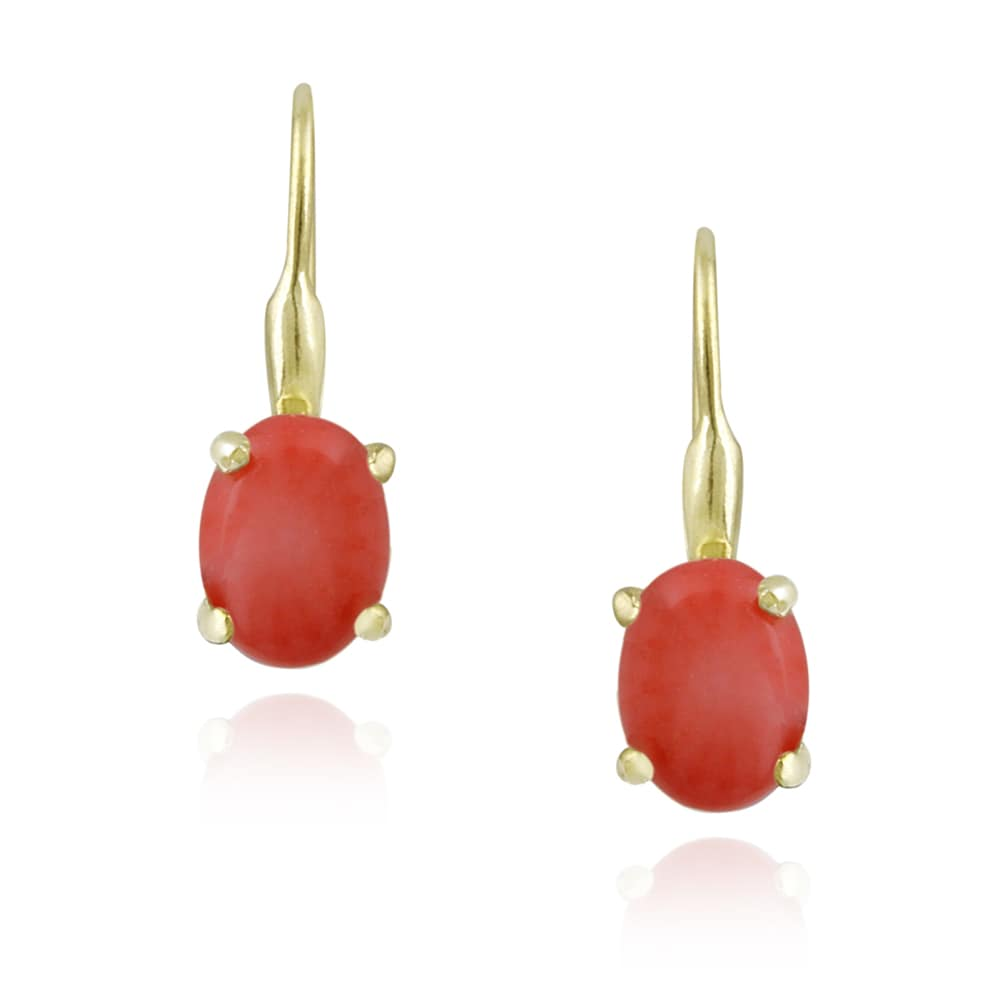 Glitzy Rocks 18k Gold over Silver Reconstituted Coral Earrings