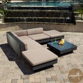 Christopher Knight Home Santorini Outdoor Six Piece Black Wicker Sofa Set