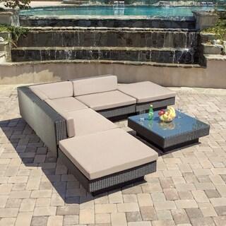 Christopher Knight Home Santorini Outdoor Six Piece Black Wicker Sofa Set