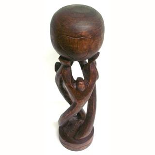 Globe Carved Wood Statue (Ghana)