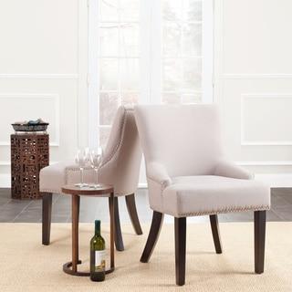 Safavieh Loire Set of Two Beige Linen Nailhead Espresso Dining Chairs
