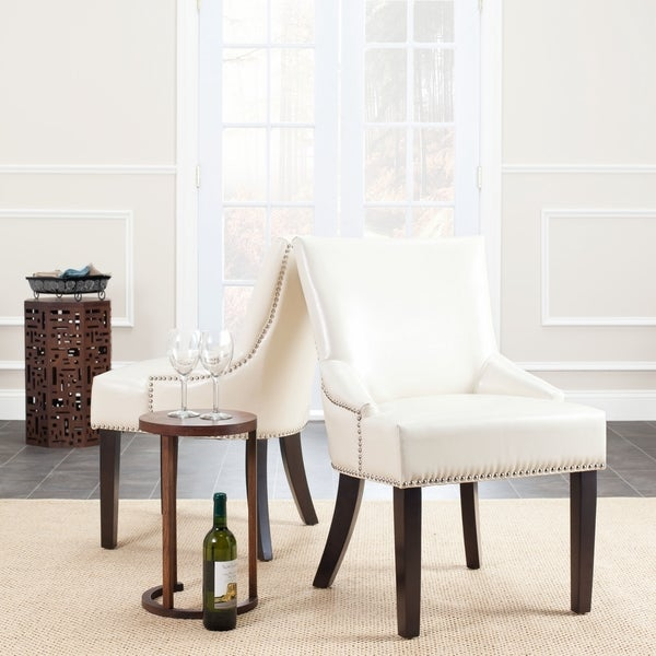 Safavieh Loire Cream Leather Nailhead Dining Chairs (Set of 2)