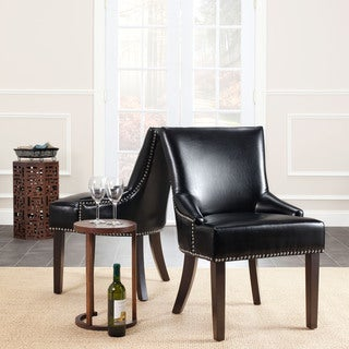 Safavieh Loire Black Leather Nailhead Dining Chairs (Set of 2)