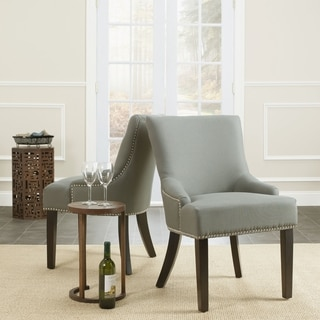 Safavieh Loire Grey Linen Nailhead Dining Chair (Set of 2)