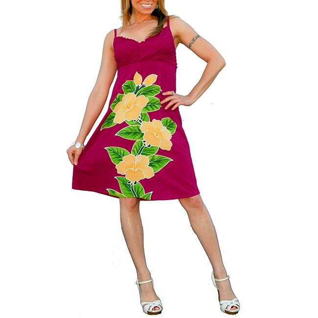 1 World Sarongs Women's Hot Pink V-Neck Knee-length Floral Dress (Indonesia)