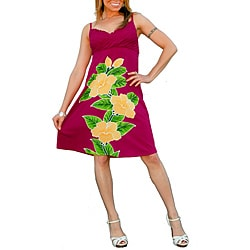 Women's Hot Pink V-Neck Knee-length Floral Dress (Indonesia)