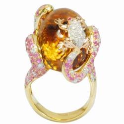 De Buman 18k Gold Citrine, Ruby and 1/2ct TDW Diamond Ring (G-H, VS1) (Size 7)