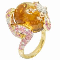 De Buman 18k Gold Citrine, Ruby and 1/2ct TDW Diamond Ring (G-H, VS1)