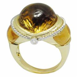 De Buman 18k Yellow Gold Citrine and Diamond Accent Ring
