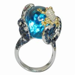De Buman 18k Gold Blue Topaz, Sapphire and 1/3ct TDW Diamond Ring (G-H,VS1)