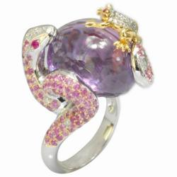 De Buman 18k Gold Amethyst, Ruby and 1/3ct TDW Diamond Ring (G-H, VS1)