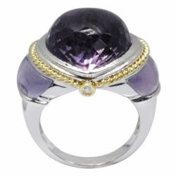 De Buman 18k White Gold Amethyst and Diamond Accent Ring